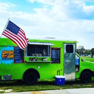 bright neon green food truck