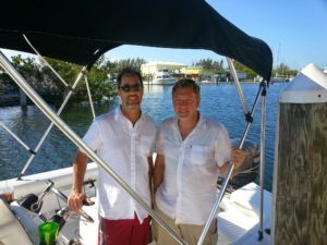 Will and David in a boat in Key Largo