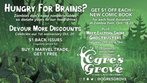 Poster for Ogres Grove Comic Store in downtown Milton