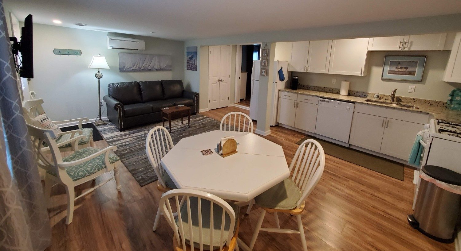 white kitchen table with grey couch