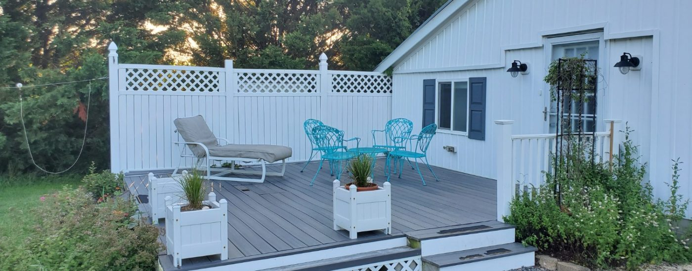 wood deck with blue furniture