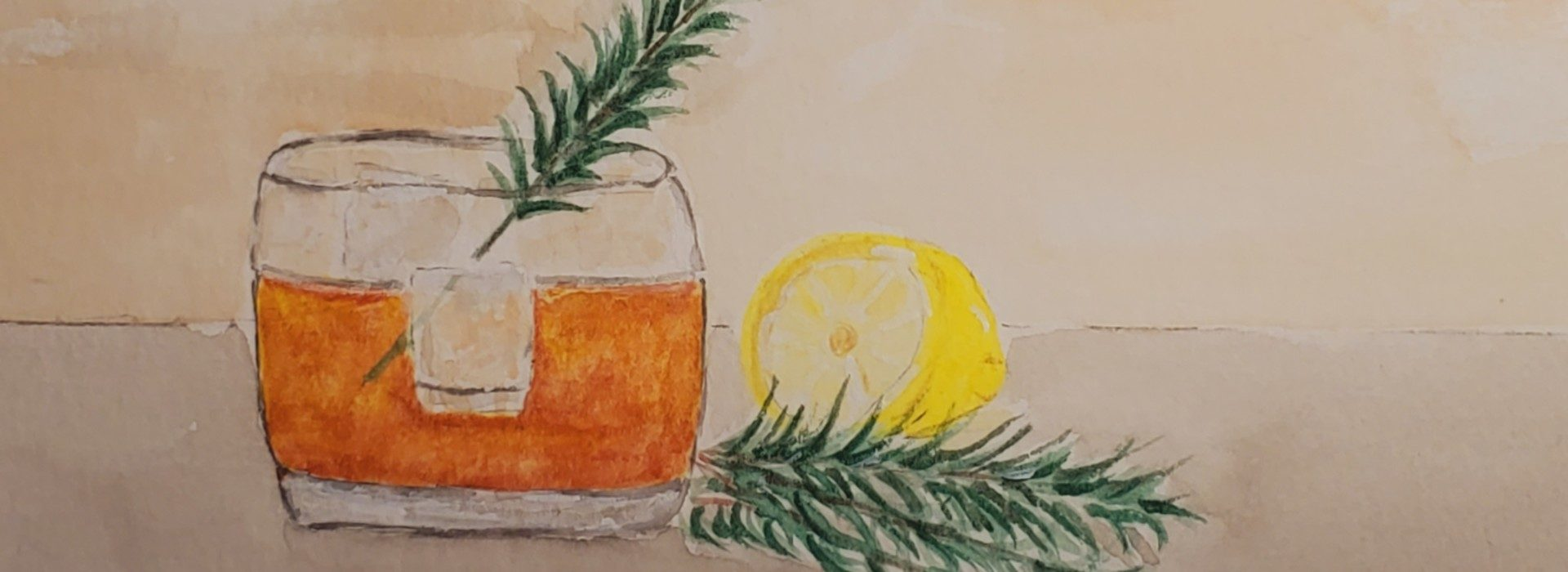 painting of a glass with orange drink and rosmary