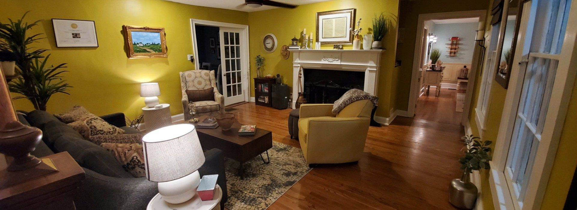 LIving room in gold and tan colors