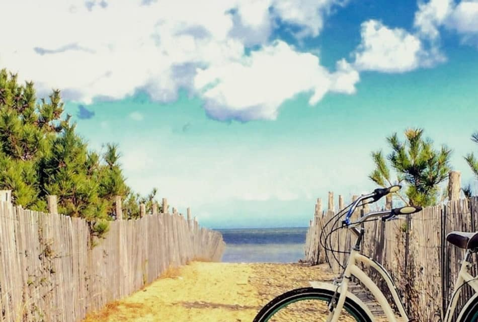 bike leaning against a fence by the beach