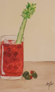painting of a bloody mary with celery and olives