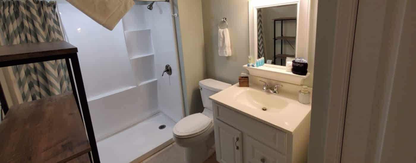 shower only with white cabinet