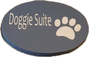 Doggie Suite Sign in Blue, with paw print