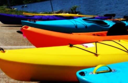 kayak, blue yellow orange