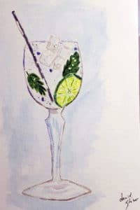 mojito in a wine class painting