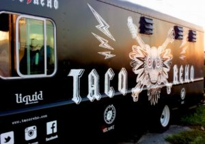 black food truck with white text